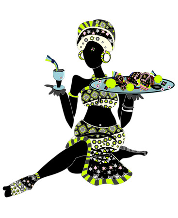 dexterity: ethnic woman holding a drink and food in ethnic style