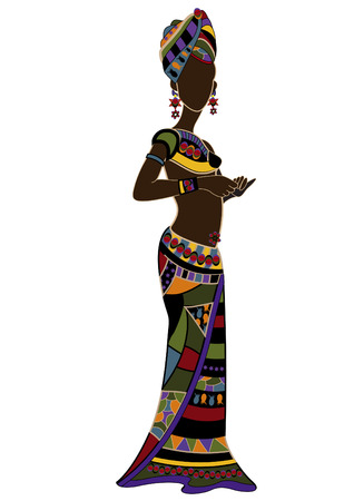 woman in ethnic style on a white background Vector