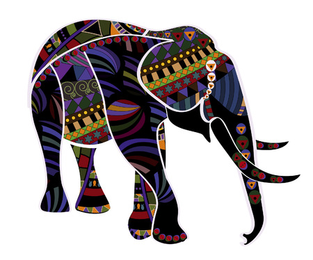 savannah: elephant from different elements in the ethnic style