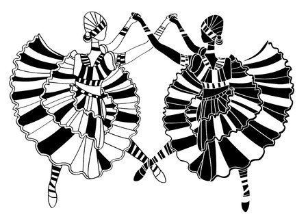 zulu: dancers perform their dance on a white background Illustration