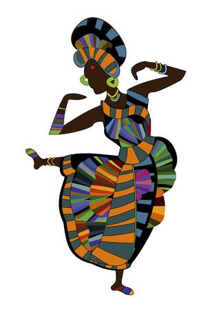 african woman face: bella ragazza danza danza etnica su uno sfondo bianco  Vettoriali