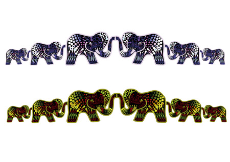 ethnic pattern of elephants in different colors on a white background Stock Vector - 7291449