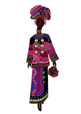 ethnic dress: donna in un vestito alla moda etnica su uno sfondo bianco