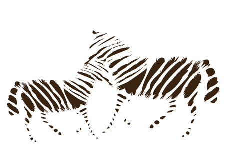 Zebra mother and foal in a simple and beautiful performance Illustration