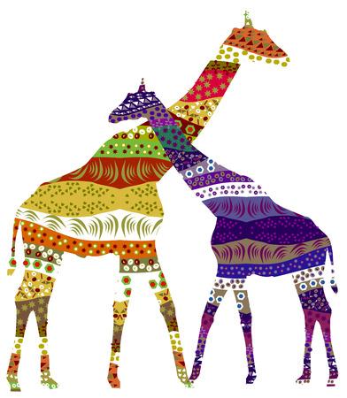 Dos jirafas en sentimientos románticos uno para el otro  Ilustración de vector