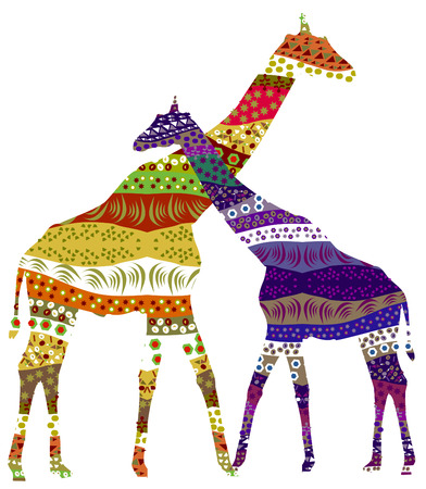 Two giraffe in romantic feelings for each other Vector