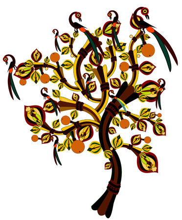 autumn tree with birds, and ripe fruit in ethnic style Vector