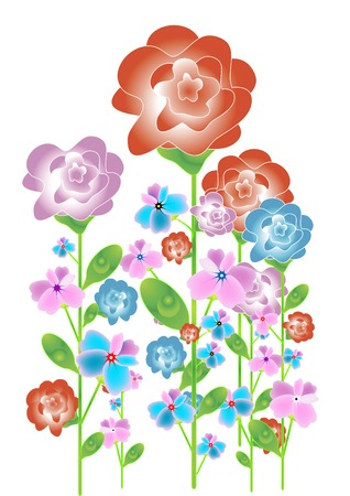 convey: summer fragrant flowers sensuous colors convey all the charm of the summer garden Illustration