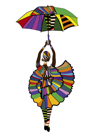 female dancer dancing with an umbrella on a white background
