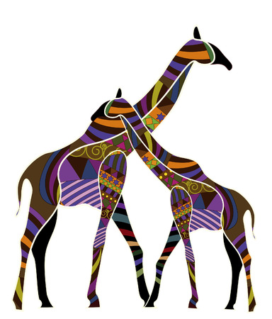 ethnics: Two giraffes in the ethnic style on a white background