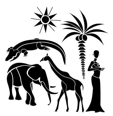analogy: traditional elements of Africa on a white background