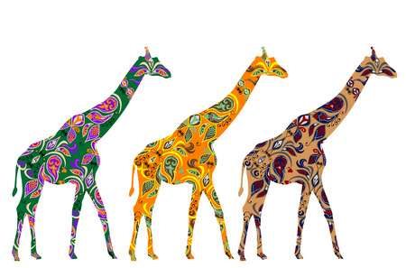 African giraffes are patterned in ethnic style
