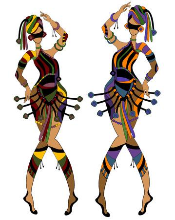 traditional dance: Donne in stile etnico, ballare il loro ballo allegro Carnevale