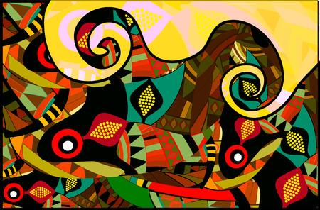 indische muster: hell hintergrund der verschiedenen Elemente im Stil ethnischen Illustration