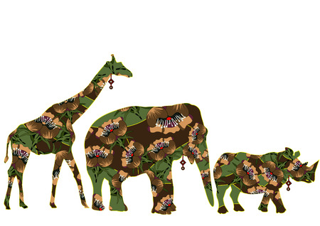 ethnics: animals of Africa in the ethnic style with a white background