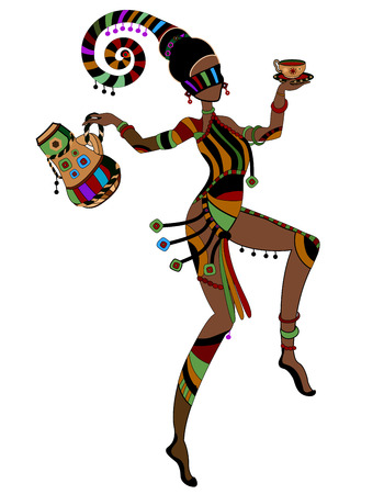 Woman in ethnic style entertains you a drink Vector