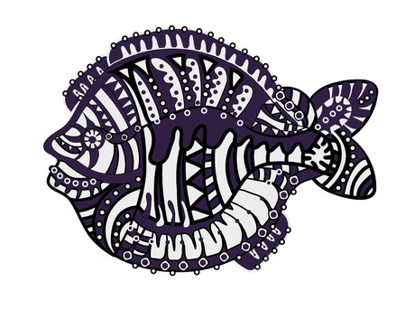 flounder: fish of various elements in the ethnic style with a white background Illustration