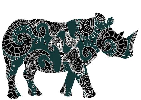 ethnics: ethnic patterned rhinoceros on a white background Illustration