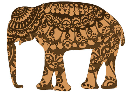patterned elephant in the ethnic style of the various elements Vector
