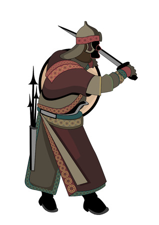 ancient civilization: military man in the ethnic style on a white background Illustration