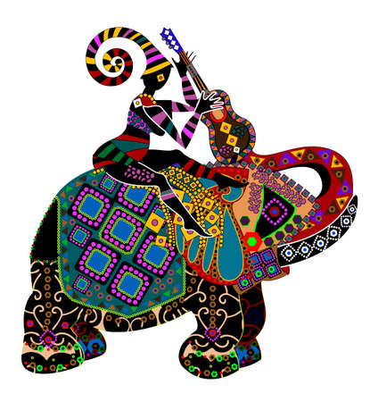 ancient elephant: man sitting on the back of a big elephant in ethnic style Illustration