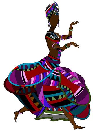 folk culture: Mujer en estilo �tnico sobre un fondo blanco