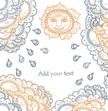 tierno: Fondo en estilo �tnico con un cielo y sol  Vectores