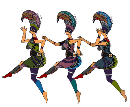 Women in ethnic style dancing on a white background Vector