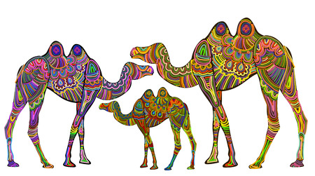 Ethnic giraffes are a symbol of stability Vector