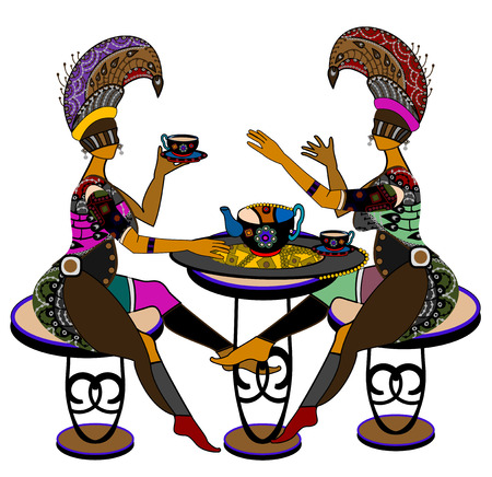 guests: novia en el estilo �tnico de beber t� o caf� sobre un fondo blanco
