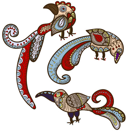 magic birds in ethnic style give happiness Vector
