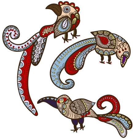 ethnics: magici di uccelli in stile etnico danno felicit�  Vettoriali