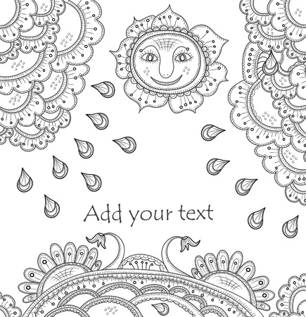 excellent background in ethnic style with the sun and flowers Vector