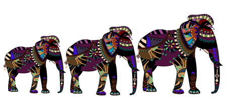 elephants of different elements in the ethnic style with a white background Vector