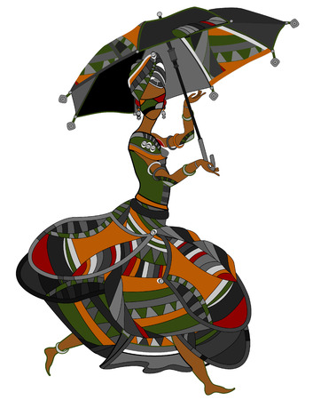 zulu: Woman in ethnic style on a white background Illustration