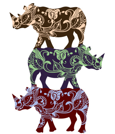 rhinoceros in ethnic style with a white background Vector