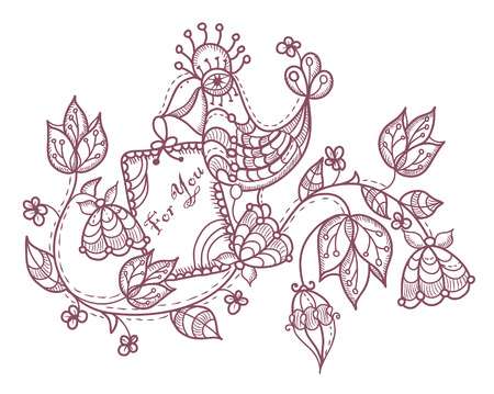 ethnics: kind and cheerful background of flowers and a parrot in a vintage style