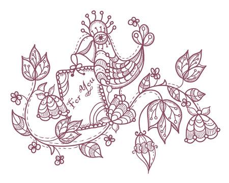 ethnics: tipo e allegro sfondo di fiori e un pappagallo in stile vintage
