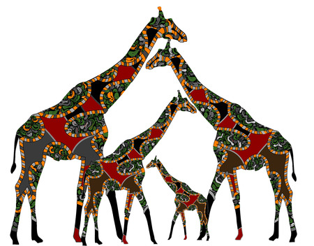national animal: giraffes in ethnic style on a white background