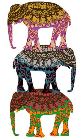 conserve: �l�phants � motifs dans le style ethnique des divers �l�ments Illustration
