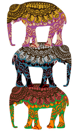 patterned elephants in the ethnic style of the various elements Vector