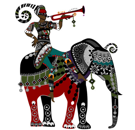 circus elephant: people in ethnic style on the back of an elephant
