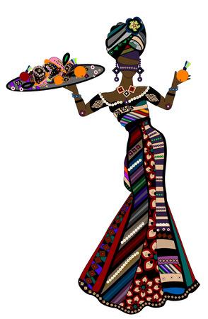 etnia: Mujer en estilo étnico te trata con sus alimentos  Vectores