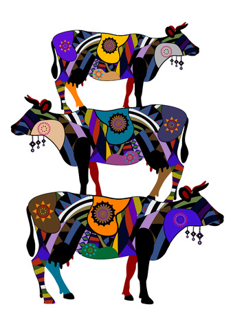 Cows on the backs of each other in ethnic style