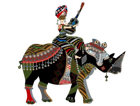 teatro antiguo: mujer sentada en la parte posterior de un rinoceronte con una guitarra en sus manos