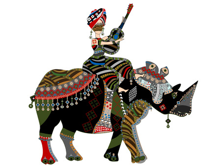 woman sitting on the back of a rhino with a guitar in his hands