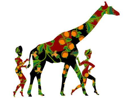 african village: people go to a giraffe in ethnic style on a white background
