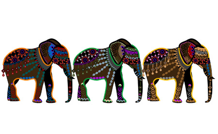 patterned elephants in the ethnic style on a white background