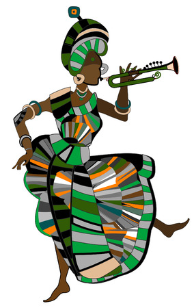 show folk: Woman in ethnic style dancing on a white background