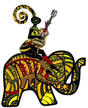 folk art: people sitting on the back of an elephant in ethnic style